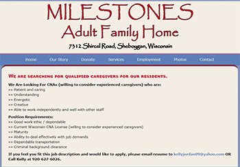 Milestones Adult Family Home in Sheboygan, WI